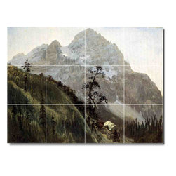 Picture-Tiles, LLC - Western Trail The Rockies Tile Mural By Albert Bierstadt - * MURAL SIZE: 18x24 inch tile mural using (12) 6x6 ceramic tiles-satin finish.