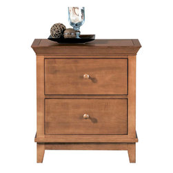 American Drew - American Drew Sterling Pointe 2 Drawer Nightstand in Maple - Sterling Pointe, from American Drew, is a collection of bedroom furniture with simple lines, but spectacular possibilities. Sterling Pointe is a versatile group that can easily capture any lifestyle and work in any setting. The collection can go from urban chic to country cottage, from transitional to coastal, and all personal styles in between! Sterling Pointe is offered in four popular colors; Black, White, Cherry and Maple. All case pieces come with matching color hardware and polished chrome finish hardware for even more personalization. In addition, the Black and White colored case pieces have the option to customize the tops in either Cherry or Maple colors. When you choose this option, you get hardware in the matching case color, matching top color and polished chrome finish. The three bed styles are offered in multiple sizes to fit any room and setting.This is the perfect collection for that condo or town home, second bedroom or second home. Sterling Pointe has a timeless appeal that can adapt and last a lifetime. Sterling Pointe will capture the essence of your personal style.