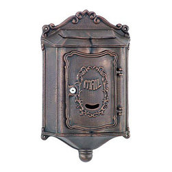Amco Colonial Locking Wall Mount in Bronze - This colonial wall-mount locking security mailbox is priced at $85 with free shipping at Mailboxixchange.com.  This mailbox is available in black, brick tone, bronze, khaki, and stone.