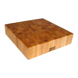 John Boos - Reversible Chopping Block in Cherry Finish (2 - Choose Size: 24 in. L x 24 in. W x 6 in. HReversible cutting board. Cherry finish