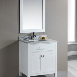 Design Element - London 30-Inch Single Sink White Bathroom Vanity Set - The London 30-Inch Single sink vanity set is constructed with solid wood and provides a contemporary design perfect for any bathroom remodel. This solid wood vanity features a white wood finish and a luxurious satin nickel finish.