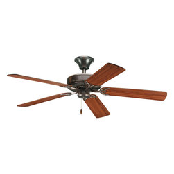 """Progress Lighting - Progress Lighting P2501-20 Airpro Builder 52"""" 5-Blade Antique Bronze Ceiling Fan - 52"""" AirPro Energy Star fan with 5 reversible Medium Cherry or Classic Walnut blades, Antique Bronze finish, and 30 year limited warranty. Powerful AirPro motor features 3-speed, triple-capacitor control that can also be reversed to provide year-round comfort. Includes innovative canopy system that can be installed on vaulted ceilings up to 12:12 pitch; additionally, the fan can be installed with no downrod to accommodate lower ceilings. Quick install canopy securely holds fan for wiring during installation."""