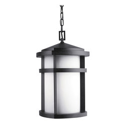 Kichler 1-Light Outdoor Fixture - Textured Granite Exterior - One Light Outdoor Fixture. The lantana collection of outdoor lighting is handsomely stylish with solidly defined lines and done in textured granite finish and etched opal glass. This 1 light outdoor pendant uses a 150-w lamp and is 10 1/2 sq, 17 1/2 high, overall 91 1/2 with extra lead wire of 63 and 6' of chain. For additional chain, order no4927 az. UL listed for wet location. U. S. Patent pending.