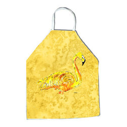 "Caroline's Treasures - Flamingo on Yellow Apron - Apron, Bib Style, 27""H x 31""W; 100% Ultra Spun Poly, White, braided nylon tie straps, sewn cloth neckband. These bib style aprons are not just for cooking - they are also great for cleaning, gardening, art projects, and other activities, too!"