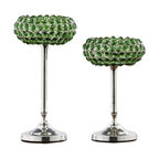 Alliyah Rugs - Green Crystal Candle Holder (Set of 2) - Glass green beads on frame and stand. the crystal candle holders can add a romantic glow to candlelight. They can be used for tealights or candles to add a warm glow to evenings indoor/outdoor.