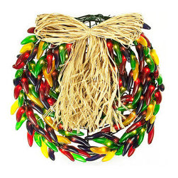 Multi-Color Chili Pepper Wreath - 14 in. Diameter - Green Wire - 120V