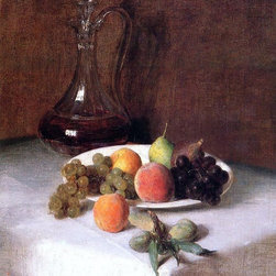 "Henri Fantin-Latour A Carafe of Wine and Plate of Fruit on a White Tablecloth - - 16"" x 20"" Henri Fantin-Latour A Carafe of Wine and Plate of Fruit on a White Tablecloth premium archival print reproduced to meet museum quality standards. Our museum quality archival prints are produced using high-precision print technology for a more accurate reproduction printed on high quality, heavyweight matte presentation paper with fade-resistant, archival inks. Our progressive business model allows us to offer works of art to you at the best wholesale pricing, significantly less than art gallery prices, affordable to all. This line of artwork is produced with extra white border space (if you choose to have it framed, for your framer to work with to frame properly or utilize a larger mat and/or frame).  We present a comprehensive collection of exceptional art reproductions byHenri Fantin-Latour."