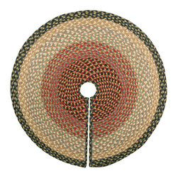 "Earth Rugs - Burgundy/Gray/Cream Round Tree Skirt (30"" x 30"") - For the holidays, add this festive tree skirt to your Christmas tree for a decorative touch."
