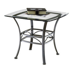 Hillsdale Furniture - Square End Table - Wrought Iron w Glass Top - A wrought iron base and glass top are a perfect pairing. Decorative curvature at the legs and waist are refined and classic. Pewter finish is soothing and sure to be a wonderful complement for any size space and furniture grouping. * For residential use. Muted pewter finish. Beautiful scroll work. Part of the Abbington ensemble. Some assembly required. This product ships in two boxes. Square glass table top. 26 in. W x 21.8 in. H x 26 in. D. Glass: 8 mm thick, not beveled