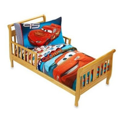 "Disney - Crown Crafts Disney CARS ""Taking the Race"" 4-Piece Toddler Set - Race to the finish line with this adorable Disney CARS Toddler Set by Crown Crafts. It features Lightning McQueen and Sally and includes a quilted bedspread, pillowcase, top sheet and fitted sheet."