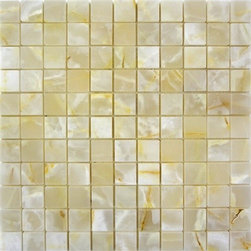 """Marbleville - White Onyx 1"""" x 1"""" Square Pattern Polished Mesh Mounted Mosaic in 12""""x12"""" Sheet - Premium Grade White Onyx 1"""" x 1"""" Square Pattern Polished Mesh-Mounted Onyx Mosaic is a splendid Tile to add to your decor. Its aesthetically pleasing look can add great value to any ambience. This Mosaic Tile is made from selected natural stone material. The tile is manufactured to high standard, each tile is hand selected to ensure quality. It is perfect for any interior projects such as kitchen backsplash, bathroom flooring, shower surround, dining room, entryway, corridor, balcony, spa, pool, etc."""