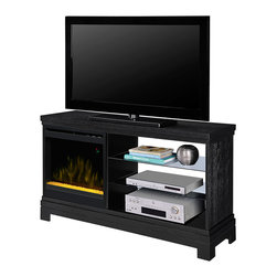 """Dimplex Ridley Electric Fireplace Media Console in Black- DFP20CR-1421BA - The Ridley Electric Fireplace Media Console is a bold, contemporary design perfect for those not afraid of making a statement. The offset electric fireplace features a modern crushed glass ember bed and lighting technology that emulates a real flickering flame. To the right of the firebox is an open concept shelving system with glass shelves. This modern take on storage offers ample room for your electronics as well as well displaying your favorite collections. At a width just under 55-inches, the Ridley is perfect for holding flat screen TV's up to 50-inches. Featuring a fully integrated fan-forced heater, the Ridley creates 4,777 BTUs of supplemental heat for rooms up to 400 Sq. Ft. Chilly rooms will be a thing of the past with this wonderful unit. Using the included remote control you'll be able to set and adjust the desired temperature as indicated by the on-screen digital display. Stay warm and comfortable while you enjoy your favorite TV show, sporting event or Hollywood blockbuster with the Ridley Electric Fireplace Entertainment Center. Dimensions: 50""""W x 32.75""""H x 15.125""""D"""