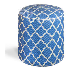 Fab Habitat - Tangier - Regatta Blue & White Pouf - Moroccan-inspired shapes never looked so chic than as the posh pattern for this modern pouf. Handmade from recycled materials by skilled artisans, this stylish pouf comes in a variety of  vivid colors and will work equally well as an ottoman in your living room, or a stool in your vanity area.