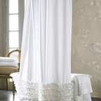 "Ann Gish - Ruffled Shower Curtain - WHITE - Ann GishRuffled Shower CurtainDetailsMade of cotton.Ruffled design.Machine washable.72""Sq.Liner not included.Imported.Designer About Ann Gish:New York-based Ann Gish a former interior designer who has lived in Southern California France England and Barbados introduced her signature line of bed linens in 1992. The Ann Gish bedding collection is known for exquisite detailing and construction along with luxurious fabrics such as silk."