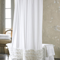"""Ann Gish - Ruffled Shower Curtain - WHITE - Ann GishRuffled Shower CurtainDetailsMade of cotton.Ruffled design.Machine washable.72""""Sq.Liner not included.Imported.Designer About Ann Gish:New York-based Ann Gish a former interior designer who has lived in Southern California France England and Barbados introduced her signature line of bed linens in 1992. The Ann Gish bedding collection is known for exquisite detailing and construction along with luxurious fabrics such as silk."""