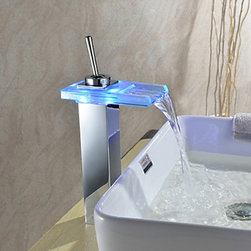 Bathroom Sink Faucets - Color Changing LED Waterfall Bathroom Faucet - Chrome Finish--faucetsmall.com