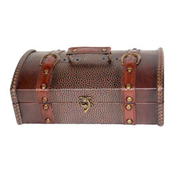 "Quickway Imports - Quickway Imports Leather Trunk/Treasure Chest for Scarves - Size: 13.5"" x 8"" x 6"""