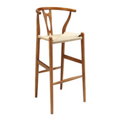 """LexMod - Amish Wood Bar Stool in Walnut - Amish Wood Bar Stool in Walnut - Time flows effortlessly through the Amish wooden bar stool. The craftsmanship is evident throughout a piece that appears both petite and boldly courageous. While Amish conveys a transitional feel with its solid beechwood back and base, the result is an enduring design with a style that doesnt fade. Given the iconic form and staggered-level wooden support rods, Amish deftly develops the interplay between permanence and sequential movements forward. The seat is made of paper rope, a new twine that is eco-friendly, soft, anti-static and durable. Set Includes: One - Amish Wood Bar Stool Durable paper rope seat, Solid beech wood frame, Fully Assembled, Sturdy construction Overall Product Dimensions: 19""""L x 19""""W x 40""""H Seat Dimensions: 15""""L x 17.5""""W x 28.5""""HBACKrest Height: 12""""H - Mid Century Modern Furniture."""