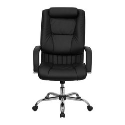 Flash Furniture - High Back Black Leather Executive Office Chair - This leather office chair is not only economical but very comfortable and attractive. The sleeved padded arms highlights the chairs features along with the vertical line tufting in between the seat and back cushions. Get an upgrade on your home or office seating with this leather executive chair.