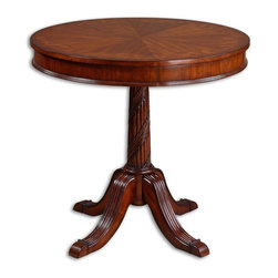 Matthew Williams - Matthew Williams Brakefield Traditional Round Table X-94142 - Polished pecan finish over solid, carved hardwood base with top inlayed in cherry, primavera, zebra wood, and cedar burl veneers.