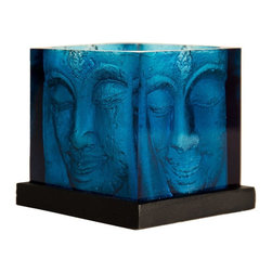 Foreign Affairs Home Decor - Ani Square Buddha Head Candle Holder In Blue - Delightful Buddha Glass Candle Holders. Tealight not included. 8 in. L x 8 in. W x 8 in. H (2 lbs)