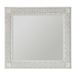 Stanley Furniture - Cypress Grove-Mirror - The cottage-inspired honeycomb pattern of the Cypress Grove Mirror frame in glazed white Parchment is symbolic of the portfolio's inviting essence. Beveled glass gives the mirror further depth.