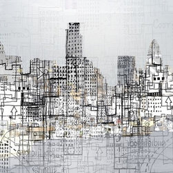 """London"" Artwork - An abstracted view of the London skyline from the Thames  This work will be sold as an unsigned canvas print though a well known UK national retailer in 2011. The work offered for sale on this site is a signed limited edition print."