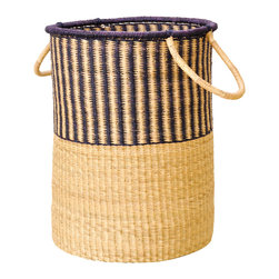 Striped Bolga Basket - Striped navy blue Bolga basket hand woven by weavers in the Bolgatanga region of Ghana. These women artisans are known around the world for their beautiful handiwork. Durable and perfect for laundry, storage or room decor. Navy blue rim color has a hint of purple to it.