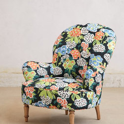 Mathilde Chair, Posey - Feminine and whimsical, this little armchair will make a statement in any room. The dark background adds a touch of masculinity as well.
