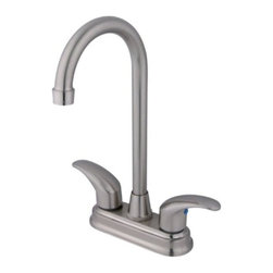 "Kingston Brass - Kingston Brass Satin Nickel Legacy Two Handle 4"" Centerset Bar Faucet KB6498LL - Two Handle Deck Mount, 2 Hole Sink Application, 4"" Centerset, Fabricated from solid brass material for durability and reliability, Premium color finish resist tarnishing and corrosion, 1/4 turn On/Off water control mechanism, 1/2"" - 14 NPS male threaded inlets, Dura seal washerless valve, 2.2 GPM (8.3 LPM) Max at 60 PSI, Integrated removable aerator, 4-3/4"" spout reach from faucet body, 11"" overall height, Ten Year Limited Warranty to the original consumer to be free from defects in material and finish.. Manufacturer: Kingston Brass. Model: KB6498LL. UPC: 663370004872. Product Name: Two Handle 4"" Centerset Bar Faucet. Collection / Series: Legacy. Finish: Satin Nickel. Theme: Generic. Material: Brass. Type: Faucet. Features: Satin nickel finish adds a bright look enhancing the beauty of your bar setting"