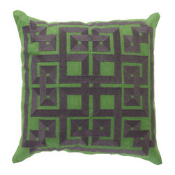 Surya Rugs - Peridot and Midnight Green Polyester Filled 20 x 20  Pillow - - This trendy design will bring the perfect amount of style to your home. This pillow has a polyester fill and a zipper closure. Made in India with one hundred percent Linen and cotton detail this pillow is durable and priced right  - Cleaning/Care: Blot. Dry Clean  - Filled Material: Polyester Filler Surya Rugs - LD012-2020P