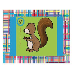 Oh How Cute Kids by Serena Bowman - Squirrel with Madras Border, Ready To Hang Canvas Kid's Wall Decor, 8 X 10 - Every kid is unique and special in their own way so why shouldn't their wall decor be so as well! With our extensive selection of canvas wall art for kids, from princesses to spaceships and cowboys to travel girls, we'll help you find that perfect piece for your special one.  Or fill the entire room with our imaginative art, every canvas is part of a coordinating series, an easy way to provide a complete and unified look for any room.