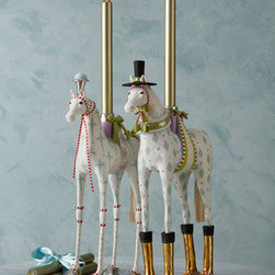 Patience Brewster - Patience Brewster Annabelle & Arthur Candleholders - Charming pair of horse candleholders steals the show as a festive centerpiece for the holidays or any day. Dramatic in gold-leaf riding boots and silver-leaf shoes, the couple has sisal tails and silver-leaf cups for holding taper candles. From Patienc...