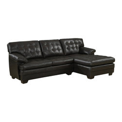 Homelegance - Homelegance Brooks 2-Piece Sectional Sofa in Rich Dark Brown Leather - Relaxation is serious business. Serious comfort is what the Brooks collection offers in this substantially sized Upholstered seating group. Channel-tufted, bonded leather covers the pillow arms, overstuffed cushions and is offered in a rich dark brown. The unique feature of this collection is the wide chaise that extends from the sectional sofa. The coordinating ottoman tucks neatly into the face of the sofa, effectively extending your lounging space.
