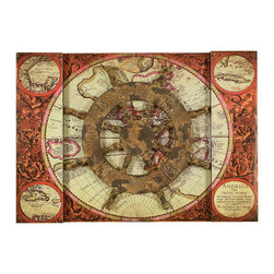 Welcome Home Accents - Nautical Wall Decor - Nautical themed wall art. World map background in distressed green and browns features a ships wheel. Hooks on back for easy hanging. Made in China.