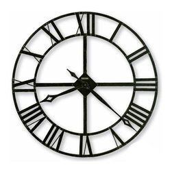 """Howard Miller - Lacy II Wrought Iron Wall Clock - Discover the beauty of simplicity and classic design with the Lacy II wrought iron wall clock. Its bold Roman numerals and lithe minute and hour hands are each finished with a distinctive dark charcoal gray and uniquely detailed with silver edging. * 14"""" diameter wrought iron wall clock features stamped Roman numerals,finished in dark charcoal gray with silver edgingThe hands are finished in charcoal gray with silver edgingQuartz,battery-operated movement1 1/2 in. D x 14 Dia."""