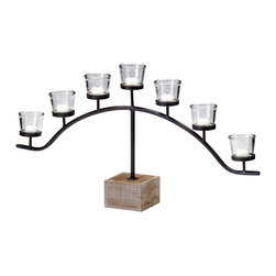 Kathy Kuo Home - Laredo Country Rustic 7 Light Votive Centerpiece Candelabra - A radiant arch of light from seven votive candles takes the center stage with this rustic candleholder crafted from timeless materials. This would be perfect on a farmhouse dining table or industrial loft mantelpiece.