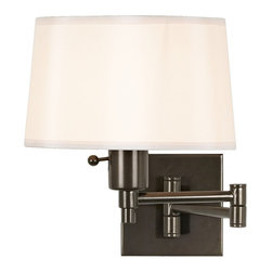 "Robert Abbey - Contemporary Real Simple Bronze Plug-In Swing Arm Wall Lamp - From the Real Simple Collection comes this swing arm wall lamp. Features a dark bronze finish over steel and a fabric shade with a diffuser. Also has a hi/lo dimming switch. Plug-in style wall lamp; plugs into any standard wall outlet. Can also be converted to a direct hard-wire lamp. From Robert Abbey. Takes one 60 watt bulb (not included). 11"" high. Shade is 8"" across the top 9"" across the bottom and 5 1/2"" high. Backplate is 4 5/8"" high and wide. 14 3/4"" extension.  Dark bronze finish.  Cord cover included.  From the Robert Abbey lighting collection.  Takes one 60 watt bulb (not included).  11"" high.  14 3/4"" extension.  Shade is 8"" across the top 9"" across the bottom and 5 1/2"" high.  Backplate is 4 5/8"" high and wide."