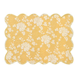 Pine Cone Hill - Pine Cone Hill Madeline Gold Quilted Placemats, Set of 4 - Pine Cone Hill Madeline Gold Quilted Placemats, Set of 4Fill your dining room with gorgeous country charm. The Madeline Gold Quilted Placemats, Set of 4, from Pine Cone Hill are inspired by a 1920s dressing gown and feature a lovely floral pattern. Use the golden-yellow hue to go for a sunny look, or let the scalloped edges create a shabby-chic touch in your dining room. It's a pretty way to add a vintage feel to your home.Set of four placemats