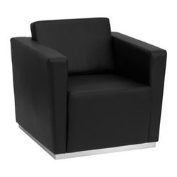 Flash Furniture - Flash Furniture Trinity Black Club Chair - This contemporary black leather reception chair will bring a clean and professional look to your reception area. This chair will adapt in a variety of environments with its clean line appearance thick fixed cushion seats and overall comfort level. [ZB-TRINITY-8094-CHAIR-BK-GG] Operating out of Etowah GA (with a warehouse in Reno NV) Flash Furniture specializes in bold upbeat décor for home office or commercial spaces. With a wide array of colors and fashions to fit your budget Flash Furniture accommodates your every need. Features include Trinity Series Chair Office or Home Office Seating Made of Eco-Friendly Materials Taut Seat and Back Fixed Seat and Back Cushion Foam Filled Cushions Straight Arm Design Stainless Steel Base with Hollow Center Black LeatherSoft Upholstery LeatherSoft is leather and polyurethane for added Softness and Durability CA117 Fire Retardant Foam. Specifications Seat Size: 22.5W x 22D Back Size: 23W x 15H Arm Height From Floor: 26H Arm Height From Seat: 10H Seat Height: 17H Finish: Stainless Steel Color: Black Upholstery: Black Bonded Leather.