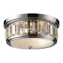 Elk Lighting - Elk Lighting Transitional Flush Mount Ceiling Light X-2/62211 - The miniscule but textural look of the bottom diffuser helps add to the visual appeal of this stunning and eye-catching Elk Lighting flush mount ceiling light. This drum shaped shade also features rectangular crystal-like accents and a bold Polished Chrome finish that works to highlight the intricacies of the design.