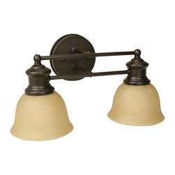 Craftmade - Lite-Rail Series, 2 Light in Oiled Bronze - Bulb Type: A-Type. Max Watt: 2x100W. Glass Finish: Tea-Stained. Length: 15.5 in.. Extension: 8.0 in.