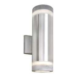 Maxim Lighting International - Lightray Brushed Aluminum Two-Light R20 Medium Base Wall Sconce - - Indirect exterior lighting not only provides illumination where you want it but also highlights the building structure for a beautiful architectural effect. Our collection of up and down lighting fixtures are available in both architectural bronze and brushed aluminum. They are also available in both incandescent and LED. The fixtures are sealed with screw lens that are water tight and allows for the use of standard light bulbs.  - Bulb not included  - Lighting Direction: Both Maxim Lighting International - 6112AL