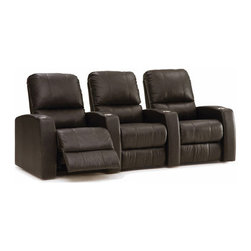 Samuel Power Recline Home Theater Seating (Quick Ship) - Samuel Home Theater Seats are offered in a curved set of 3 cinema chairs with full power reclining functionality giving your theater seats an unlimited number of positions, high resilience seat foam backing for superior durability and plush comfort, upholstered in high-grade, easy to clean top grain, real leather that has been polished to remove imperfections and obtain consistent color across its entire surface. These home theater chairs are ergonomically engineered to provide unparalleled comfort and ultimate lumbar support in a space-saving, wall-hugger design so that you can relax and enjoy the home cinematic experience in luxury and style without any compromising.