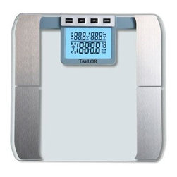 Taylor - Glass Platform Body Fat Scale - Glass platform body fat scale uses BIA to estimate body fat and body water percentage in 0.1% graduation