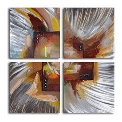 Four square steel splash Hand Painted 4 Piece Aluminum Painting - If you love avant garde art, this four-piece painting is for you. This unique artwork is made with acrylic paints on canvas, then stretched over a one-inch thick wooden frame that you can hang as soon as you receive it.