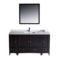 """Fresca - Oxford 60"""" Espresso Vanity w/ 2 Side Cabinets Cascata Brushed Nickel Faucet - Blending clean lines with classic wood, the Fresca Oxford Traditional Bathroom Vanity is a must-have for modern and traditional bathrooms alike.  The vanity frame itself features solid wood in a stunning espresso finish that?s sure to stand out in any bathroom and match all interiors.   Available in many different finishes and configurations."""