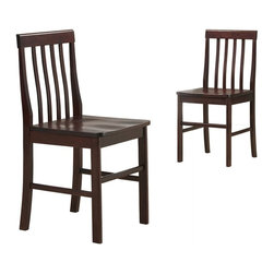 "Walker Edison - Walker Edison Solid Wood Dining Chairs - Espresso (Set of 2) X-SE2NWHC - These simple, yet elegant set of wood dining chairs are a beautiful addition to any kitchen, dining room or sitting area.  Crafted from high-grade MDF and wood veneer with a rich, espresso grain finish. An attractive traditional design with sound construction provides comfort and stability. Perfect for everyday use and ideal for extra seating while entertaining, these beautiful chairs will last years to come.Features:&#8226: Stylish, traditional design&#8226: Constructed of wood veneer and high-grade MDF&#8226: Rich, espresso finish&#8226: Set includes two chairs&#8226: Ships ready-to-assemble with necessary hardware and tools&#8226: Assembly instructions included with toll-free number and online supportSingle Chair Dimensions: 18"" W x 18"" D x 37"" H"