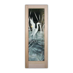 "Glass Front Doors - Glass Entry Doors Sandblast Frosted Glass Cranes 2D Design - Glass Front Doors, Entry Doors that Make a Statement! Your front door is your home's initial focal point and glass doors by Sans Soucie with frosted, etched glass designs create a unique, custom effect while providing privacy AND light thru exquisite, quality designs!  Available any size, all glass front doors are custom made to order and ship worldwide at reasonable prices.  Exterior entry door glass will be tempered, dual pane (an equally efficient single 1/2"" thick pane is used in our fiberglass doors).  Selling both the glass inserts for front doors as well as entry doors with glass, Sans Soucie art glass doors are available in 8 woods and Plastpro fiberglass in both smooth surface or a grain texture, as a slab door or prehung in the jamb - any size.   From simple frosted glass effects to our more extravagant 3D sculpture carved, painted and stained glass .. and everything in between, Sans Soucie designs are sandblasted different ways creating not only different effects, but different price levels.   The ""same design, done different"" - with no limit to design, there's something for every decor, any style.  The privacy you need is created without sacrificing sunlight!  Price will vary by design complexity and type of effect:  Specialty Glass and Frosted Glass.  Inside our fun, easy to use online Glass and Entry Door Designer, you'll get instant pricing on everything as YOU customize your door and glass!  When you're all finished designing, you can place your order online!   We're here to answer any questions you have so please call (877) 331-339 to speak to a knowledgeable representative!   Doors ship worldwide at reasonable prices from Palm Desert, California with delivery time ranges between 3-8 weeks depending on door material and glass effect selected.  (Doug Fir or Fiberglass in Frosted Effects allow 3 weeks, Specialty Woods and Glass  [2D, 3D, Leaded] will require approx. 8 weeks)."