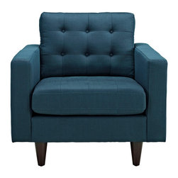 "GRIMES ARMCHAIR - Deeply tufted buttons / Fine fabric upholstery / Solid wooden legs / Glides to prevent scratching Overall Product Dimensions: 35.5""L x 35.5""W x 35.5""H Seat Dimensions: 23""L x 26""W x 19""H Armrest Dimensions: 4.5""W x 6.5""H Backrest Height: 18.5""H Cushion Thickness: 6""H"